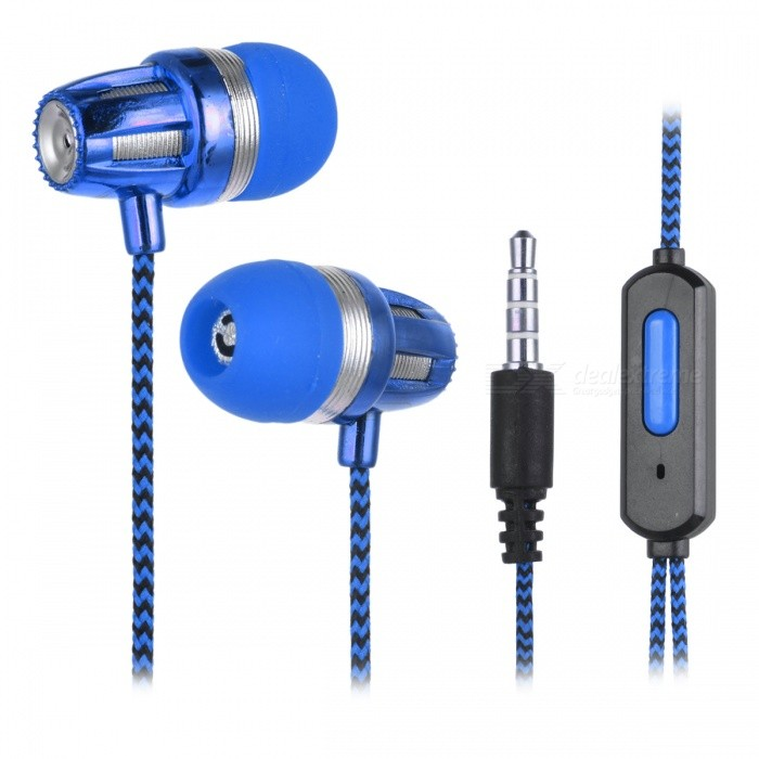 JEDX Bullet Head Style Fabric Cloth Cable In-Ear Earphone - BlueHeadphones<br>Form  ColorBlueBrandOthers,JEDXMaterialABSQuantity1 DX.PCM.Model.AttributeModel.UnitConnection3.5mm WiredBluetooth VersionNoConnects Two Phones SimultaneouslyNoCable Length110 DX.PCM.Model.AttributeModel.UnitLeft &amp; Right Calbes TypeEqual LengthHeadphone StyleBilateralWaterproof LevelIPX0 (Not Protected)Applicable ProductsUniversalHeadphone FeaturesLightweight,PortableRadio TunerNoSupport Memory CardNoSupport Apt-XNoPacking List1 * Earphone<br>
