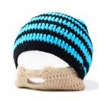 Outdoor Sports Winter Men's Beard Covered Knit Hat - Blue + Black