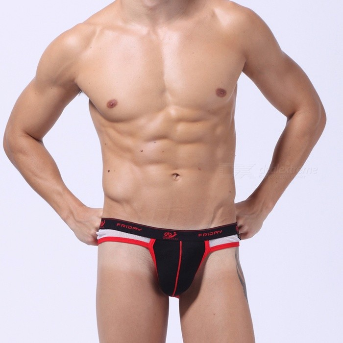 Sexy Breathable Exposed Buttocks Mens Underwear - Black (L)Mens Sexy Underwear<br>Form  ColorBlack + RedSizeLQuantity1 DX.PCM.Model.AttributeModel.UnitShade Of ColorBlackMaterialPolyester-cottonShoulder Width0 DX.PCM.Model.AttributeModel.UnitWaist Girth74-78 DX.PCM.Model.AttributeModel.UnitHip Girth94-98 DX.PCM.Model.AttributeModel.UnitPacking List1 * Underwear<br>