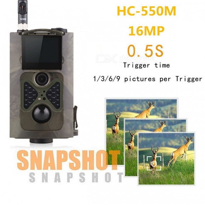 16MP Outdoor Hunting Trail Camera w/ 0.5s Trigger Time - CP CamouflageSport Cameras<br>Form  ColorMultiCamShade Of ColorMulti-colorMaterialABSQuantity1 DX.PCM.Model.AttributeModel.UnitImage SensorCMOSImage Sensor Size1/2.5 inchesAnti-ShakeYesFocal Distancefix focus 10 DX.PCM.Model.AttributeModel.UnitFocusing Range90 degreeWide Angle120 degreeEffective Pixels8/12/16MPMax. Pixels16MP DX.PCM.Model.AttributeModel.UnitImagesJPEGStill Image Resolution1080P (15fps) 720P (25fps) VGA (30fps)VideoAVIVideo Resolution1080P (15fps) 720P (25fps) VGA (30fps)Video Frame Rate30Audio SystemMonophonyCycle RecordNoISOOthers,AutoExposure CompensationOthers,±2EVWhite Balance ModeAutoSupports Card TypeTFSupports Max. Capacity32 DX.PCM.Model.AttributeModel.UnitBuilt-in Memory / RAMNoInput InterfaceOthers,AVOutput InterfaceAV,Micro USBLCD ScreenYesScreen TypeTFTScreen Size2.0 DX.PCM.Model.AttributeModel.UnitBattery Measured Capacity 16000 DX.PCM.Model.AttributeModel.UnitNominal Capacity14000~15000 DX.PCM.Model.AttributeModel.UnitBattery TypeAABattery included or notNoBattery Quantity8 DX.PCM.Model.AttributeModel.UnitVoltage1.5 DX.PCM.Model.AttributeModel.UnitLow Battery AlertsYesWater ResistantFor daily wear. Suitable for everyday use. Wearable while water is being splashed but not under any pressure.Supported LanguagesEnglish,Russian,Portuguese,Spanish,Italian,French,German,Finnish,Swedish,Others,Danish, Dutch, PolishCertificationCE, RoHS, FCCForm  ColorMultiCamPacking List1 * Camera1 * Antenna1 * Binding belt (100cm)1 * USB cable (40cm)1 * Remote controller1 * English user manual<br>