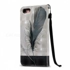 BLCR 3D Embossed Feathers Pattern Magnetic PU Holder Case for IPHONE 7