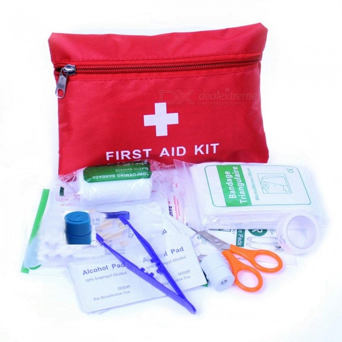 ZIQIAO Auto Multi-function Emergency Kits Car Field First Aid Kit -RedEmergency or Safety Kits<br>Form  ColorRed + WhiteModelN/AQuantity1 DX.PCM.Model.AttributeModel.UnitMaterialNylonFunctionOthers,First aid kitPacking List1 * Elastic bandage1 * Non-woven tape6 * text-aid1 * First aid tape10 * Alcohol prep pad2 * Steriled gauze swab1 * Tweezers1 * Scissors<br>
