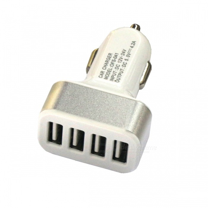 4-Port USB 12~24V 4.2A Fast Charging Car Charger for Mobile PhoneCar Cigarette Lighter<br>Form  ColorSilver + WhiteModel-Quantity1 DX.PCM.Model.AttributeModel.UnitMaterialAluminum alloy + plasticShade Of ColorSilverInput Voltage12~24 DX.PCM.Model.AttributeModel.UnitOutput Voltage5 DX.PCM.Model.AttributeModel.UnitSocket Output Current4.2 DX.PCM.Model.AttributeModel.UnitUSB Output Voltage5 DX.PCM.Model.AttributeModel.UnitOutput Current4.2 DX.PCM.Model.AttributeModel.UnitInterface/PortUSB 2.0Packing List1 * Car charger<br>