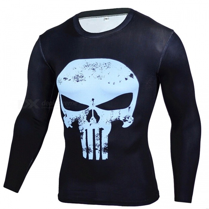 Outdoor Sports Punisher Pattern Long Sleeve Mens Shirt - Blue (L)Form  ColorBlueSizeLQuantity1 DX.PCM.Model.AttributeModel.UnitMaterialPolyesterShade Of ColorBlueSeasonsAutumn and WinterGenderMensShoulder Width41 DX.PCM.Model.AttributeModel.UnitChest Girth89~105 DX.PCM.Model.AttributeModel.UnitSleeve Length64 DX.PCM.Model.AttributeModel.UnitTotal Length62 DX.PCM.Model.AttributeModel.UnitBest UseCross-training,Yoga,Running,Climbing,Rock Climbing,Family &amp; car camping,Backpacking,Camping,Mountaineering,Travel,Cycling,Triathlon,Cross-trainingPacking List1 * Shirt<br>