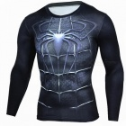 Outdoor Sports Spiderman Pattern Long Sleeve Men's Shirt - Black (XL)