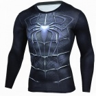 Outdoor Sports Spiderman Pattern Long Sleeve Men's Shirt - Black (L)