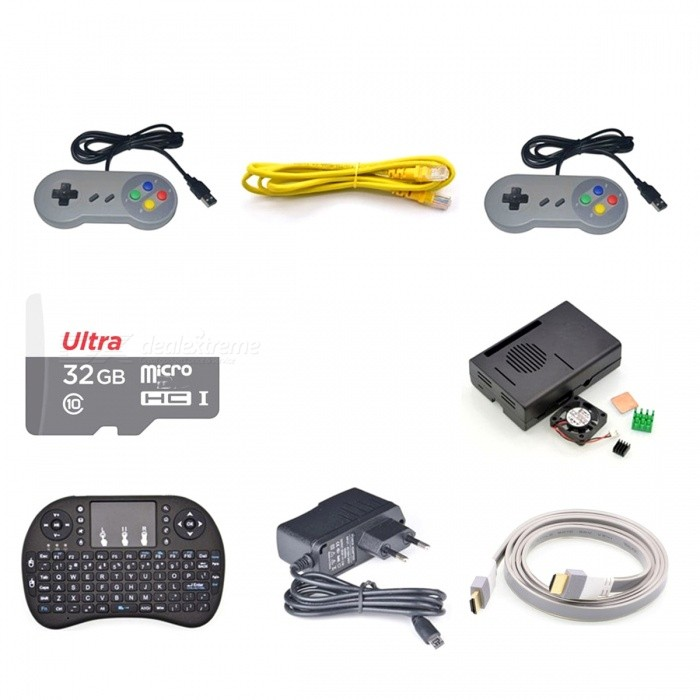32GB Preloaded RetroPie Game Console Accessories Kit for Pi 3BKits<br>Form ColorOthersModel-Quantity1 SetMaterialPVCEnglish Manual / SpecNoPacking List2 * Super Nintendo SNES USB Controller GAME PADs for PC Raspberry Pi 3 Retropie1 * Class10 48 Mb/s 32GB Micro SD TF Card Preloaded with RetroPie1 * ABS Black Case with Cooling Fan for Raspberry Pi 3 Model B1 * Set Heatsinks with Thermal Pad for Raspberry Pi 3 Model B1 * 5V 2.5A AU Power Supply (Leave us a message if you need EU/UK/US)1 * CAT5 RJ-45 Ethernet Network Cable for Raspberry Pi 3 Model B1 * White HDMI Cable 150cm for Raspberry Pi 3 Model B1 * Mini 2.4GHz Wireless Keyboard Touchpad Mouse for Raspberry Pi 3 Model B<br>