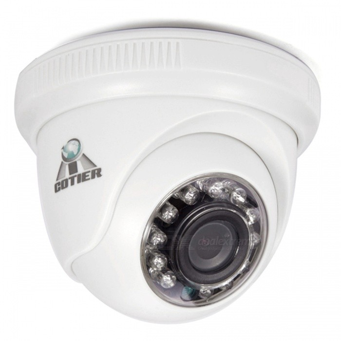 COTIER Indoor CCTV 960P HD 1.3MP AHD Camera w/ 12pcs IR-LED - WhiteCCTV Cameras<br>Form  ColorWhiteModelTV-531eL/AMaterialPlasticQuantity1 DX.PCM.Model.AttributeModel.UnitImage SensorCMOSImage Sensor SizeOthers,1/3 InchPixels1.3MPPicture Resolution1280*960Lens3.6mmViewing Angle90 DX.PCM.Model.AttributeModel.UnitVideoAVIDaytime15mElectronic Shutter Speed1/50s~1/100,000sMinimum Illumination0.01LuxImaging ColorColorVideo / Audio Compression FormatVideo Compression: No<br>Audio Compression: NoInterfacesVideo Output: AHD TVI CVI CVBS 1.0Vp-p75<br>Audio, Alarm Input Output/Network Interface/Control Interface: NoNight VisionYesIR-LED Quantity12Night Vision Distance15 DX.PCM.Model.AttributeModel.UnitVideo SystemPALMotorNoWireless ReceivernoSNR50dBWater-proofNoBracket noPower AdaptorYesPower AdapterEU PlugRate Voltage12VRated Current1 DX.PCM.Model.AttributeModel.UnitBuilt-in MicrophoneNoFunctionIRCertificationFCPacking List1 x AHD camera (45-48 cm)1 x Power adapter (110 cm)1 * User Manual1 * Screw<br>