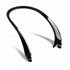 Wireless Bluetooth Stereo Retractable Sports Headphone - Black +Silver