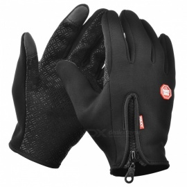 Touch Windproof Riding Outdoor Sports Full Finger Gloves - Black (XL)