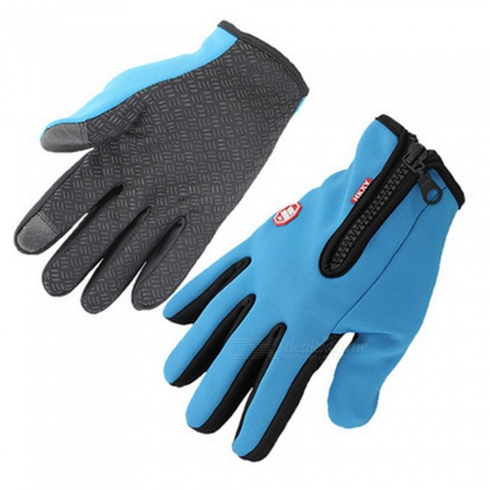 Touch Windproof Riding Outdoor Sports Full Finger Gloves - Blue (L)