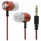 HARLEM 3.5mm Wired In-Ear Headphone for Audio - Red + Black