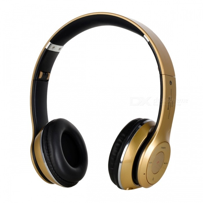 S460 Foldable Wireless Bluetooth V3.0 + EDR Bass Headphone - GoldenHeadphones<br>Form  ColorGoldenBrandOthers,N/AModelS460MaterialABSQuantity1 DX.PCM.Model.AttributeModel.UnitConnection3.5mm Wired,BluetoothBluetooth VersionBluetooth V3.0Operating Range10mConnects Two Phones SimultaneouslyNoCable Length50 DX.PCM.Model.AttributeModel.UnitHeadphone StyleHeadbandWaterproof LevelIPX0 (Not Protected)Applicable ProductsUniversalHeadphone FeaturesEnglish Voice Prompts,Volume Control,With Microphone,PortableRadio TunerYesSupport Memory CardYesMemory Card SlotStandard TF CardMax. Memory Supported128MB~32GBSupport Apt-XNoChannels2.0Sensitivity115dB S.P.L at 1kHzFrequency Response20~20,000HzImpedance32 DX.PCM.Model.AttributeModel.UnitBattery TypeLi-ion batteryBuilt-in Battery Capacity 250 DX.PCM.Model.AttributeModel.UnitPower AdapterUSBPower Supply5V / 1APacking List1 * Headphone1 * USB cable (30cm)1 * 3.5mm cable (110cm)<br>