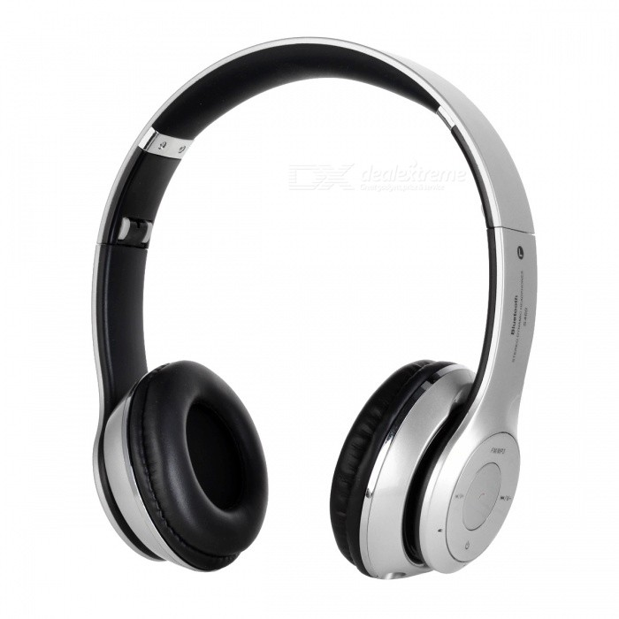 S460 Foldable Wireless Bluetooth V3.0 + EDR Bass Headphone - SilverHeadphones<br>Form  ColorSilverBrandOthers,N/AModelS460MaterialABSQuantity1 DX.PCM.Model.AttributeModel.UnitConnection3.5mm Wired,BluetoothBluetooth VersionBluetooth V3.0Operating Range10mConnects Two Phones SimultaneouslyNoCable Length50 DX.PCM.Model.AttributeModel.UnitHeadphone StyleHeadbandWaterproof LevelIPX0 (Not Protected)Applicable ProductsUniversalHeadphone FeaturesEnglish Voice Prompts,Volume Control,With Microphone,PortableRadio TunerYesSupport Memory CardYesMemory Card SlotStandard TF CardMax. Memory Supported128MB~32GBSupport Apt-XNoChannels2.0Sensitivity115dB S.P.L at 1kHzFrequency Response20~20,000HzImpedance32 DX.PCM.Model.AttributeModel.UnitBattery TypeLi-ion batteryBuilt-in Battery Capacity 250 DX.PCM.Model.AttributeModel.UnitPower AdapterUSBPower Supply5V1APacking List1 * Headphone1 * USB cable (30cm)1 * 3.5mm cable (110cm)<br>