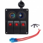 IZTOSS 3 Gang RED LED Switch Panel w/ Socket + LED (DC 12V)