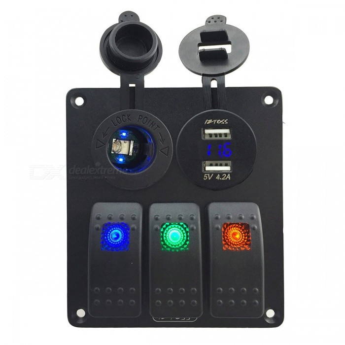 IZTOSS 3 Gang Switch Panel w/ Cigarette Lighter Socket, USB Voltmeter