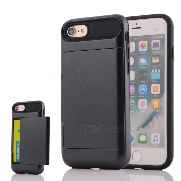 Box Series PC + TPU Back Case w/ Card Slot for IPHONE 7 - BlackPlastic Cases<br>Form ColorBlackQuantity1 DX.PCM.Model.AttributeModel.UnitMaterialPC + TPUCompatible ModelsiPhone 7DesignSolid Color,Card SlotStyleBack CasesPacking List1 * Phone case<br>