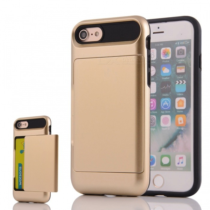 Box Series PC + TPU Back Case w/ Card Slot for IPHONE 7 - GoldenPlastic Cases<br>Form ColorGoldenQuantity1 DX.PCM.Model.AttributeModel.UnitMaterialPC + TPUCompatible ModelsiPhone 7DesignSolid Color,Card SlotStyleBack CasesPacking List1 * Phone case<br>