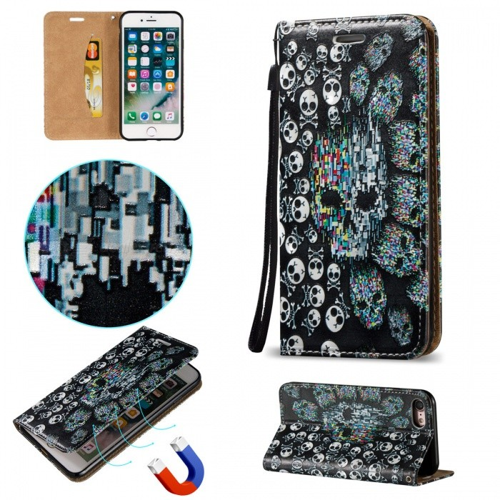 BLCR 3D Embossed Skull Pattern Magnetic Leather Case for IPHONE 7Leather Cases<br>Form  ColorWhite + Black + Multi-ColoredQuantity1 DX.PCM.Model.AttributeModel.UnitMaterialPU + TPUCompatible ModelsiPhone 7StyleFlip OpenDesignMixed Color,With Stand,3D,Card Slot,With StrapAuto Wake-up / SleepNoPacking List1 * Case1 * Strap<br>