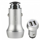Benks 2.4A Mini Metal Car Charger with Dual USB Ports - Silver