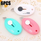 2050 6PCS Push Type ABS Mini Knives - Multicolor