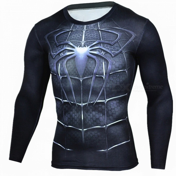Outdoors Spiderman Pattern Long Sleeve Men's Sport T-Shirt - Black (M)