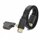 Kitbon HDMI M-M Flat Cable + Micro HDMI / Mini HDMI to HDMI Adapter