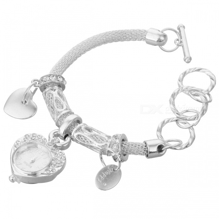 Unique Round Strap Heart Shape Dial Quartz Bracelet Watch - Silver
