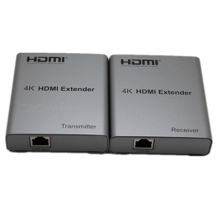 4K 50m HDMI Extender - Silvery GreyAV Adapters And Converters<br>Form  ColorSilver GreyMaterialAluminum alloy + Electronic componentsQuantity1 DX.PCM.Model.AttributeModel.UnitShade Of ColorSilverConnectorHDMI,Cat 6,Cat 5ePower AdapterEU PlugPower SupplyInput : 100~240V 0.18A 50/60Hz<br>Output: 5V 1.5APacking List1 * HDMI Transmitter1 * HDMI Receiver2 * Power adapters2 * IR cables1 * English &amp; Chinese user manual<br>