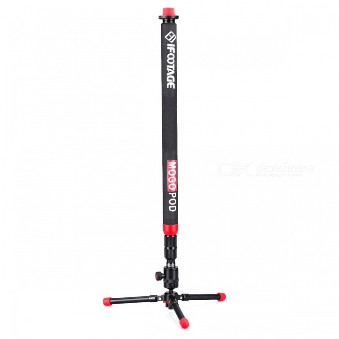 IFOOTAGE Mogopod Portable Monopod Tripod w/ Ball Head for DSLR CameraTripods and Holders<br>Form ColorBlack + RedModelMogopodMaterialAnodised aluminiumQuantity1 DX.PCM.Model.AttributeModel.UnitTypeMonopodRetractableYesScrew Size1/4Folded Size65 DX.PCM.Model.AttributeModel.UnitFull Size 154 DX.PCM.Model.AttributeModel.UnitMin.Height77 DX.PCM.Model.AttributeModel.UnitMax.Height165 DX.PCM.Model.AttributeModel.UnitMax.Load3.5 DX.PCM.Model.AttributeModel.UnitCertificationCEPacking List1 * 3 Legs System1 * Ball Head1 * 3/8 inch Adapter1 * Hex Wrench1 * Chinese&amp;English Manual<br>