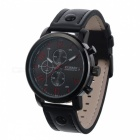 8192 Military Style Alloy PU Leather Strap Men's Quartz Watch - Black