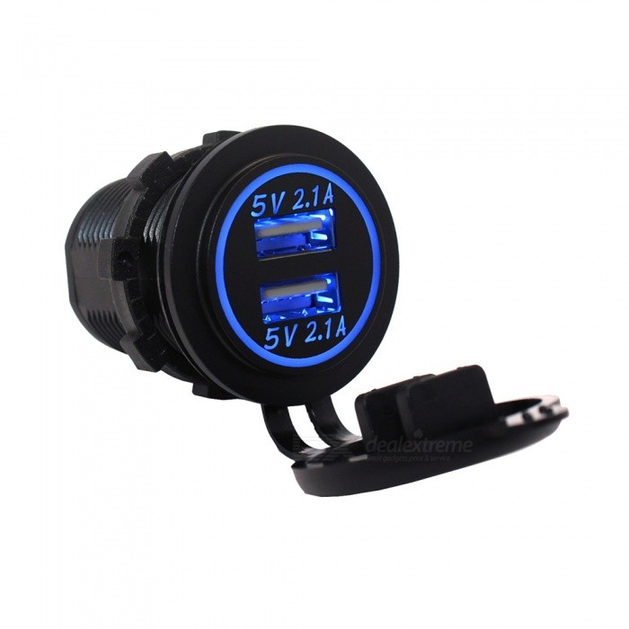 Eastor 4.2A (2.1A + 2.1A) Dual USB Ports Car Charger - Blue LightCar Power Chargers<br>Form ColorBlue LightModelN/AQuantity1 DX.PCM.Model.AttributeModel.UnitMaterialABSShade Of ColorBlackInput Voltage12~24 DX.PCM.Model.AttributeModel.UnitOutput Voltage5 DX.PCM.Model.AttributeModel.UnitOutput Current4.2 DX.PCM.Model.AttributeModel.UnitInterfaceDual USBApplicationCar Boat MarinePacking List1 * 4.2A Car Charger2 * Connectors<br>