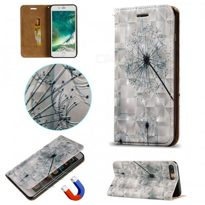 BLCR 3D Embossed Dandelion Pattern Magnetic PU Case for IPHONE 7 Plus