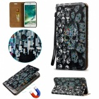 BLCR 3D Embossed Skulls Pattern Magnetic PU Case for IPHONE 7 Plus