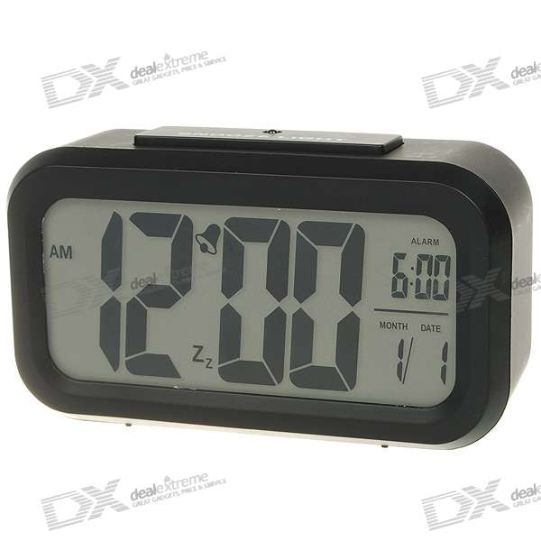 "4.5"" LCD Digital Clock + Alarm + Calendar with Light Sensor Blue Backlit - Black (3*AAA)"