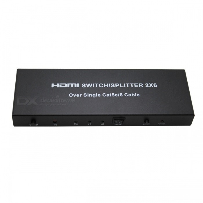 2 * 6 HDMI Splitter / Extender Over Single Cat 5E/6 Cable - BlackAV Adapters And Converters<br>Form  ColorBlackMaterialAluminum alloy + electronic componentsQuantity1 DX.PCM.Model.AttributeModel.UnitShade Of ColorBlackConnectorHDMI,Cat 6,Cat 5ePower AdapterEU PlugPower SupplyInput : 100~240V 0.18A 50/60Hz / Output: 5V 1.5APacking List1 * HDMI Splitter/Extender1 * IR Remote Control1 * Power adapter1 * English &amp; Chinese user manual<br>