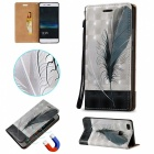 BLCR 3D Embossed Feathers Pattern Magnetic PU Case for Huawei P9 Lite