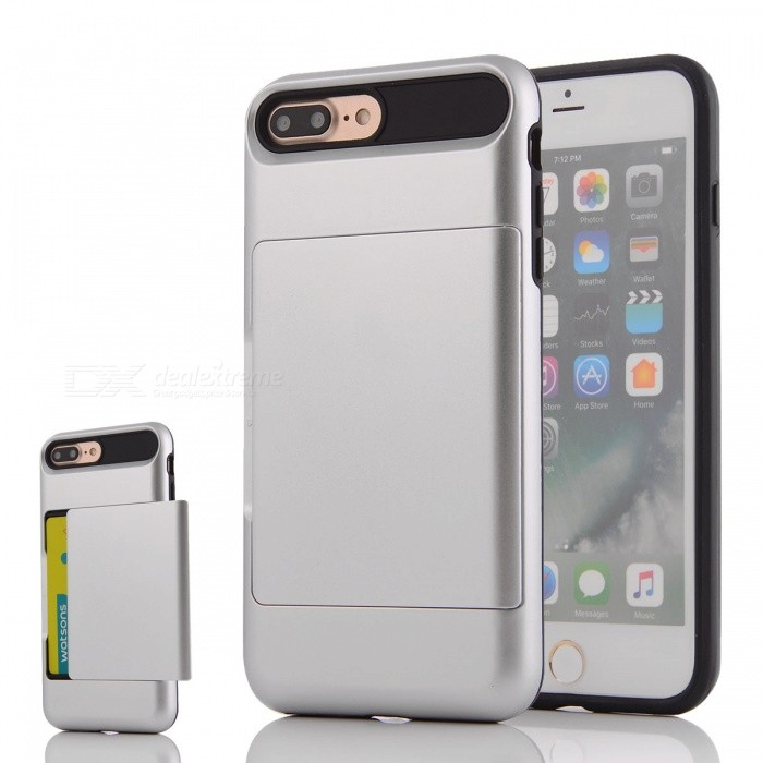 Protective PC + TPU Back Case w/ Card Slot for IPHONE 7 PLUS - SilverPlastic Cases<br>Form  ColorSilverQuantity1 DX.PCM.Model.AttributeModel.UnitMaterialPC + TPUCompatible ModelsiPhone 7 PLUSDesignSolid Color,Card SlotStyleBack CasesPacking List1 * Phone case<br>