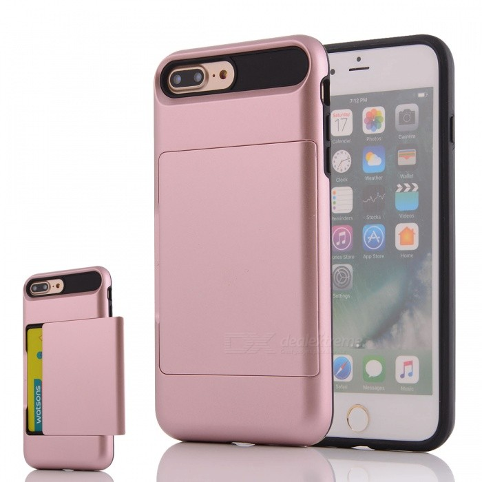 PC + TPU Back Case w/ Card Slot for IPHONE 7 PLUS - Rose Golden