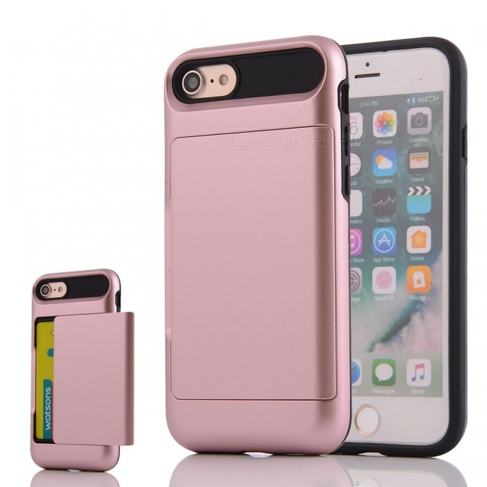 Protective PC + TPU Back Case w/ Card Slot for IPHONE 7 - Rose Golden