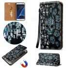 BLCR 3D Embossed Skulls Pattern Magnetic PU Case for Samsung Galaxy S7