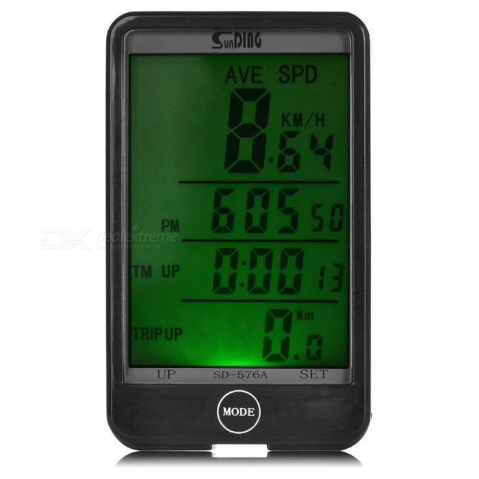 SUNDING 576A LCD Wired Bike Computer / Speedometer - BlackBike Computer<br>Form  ColorBlackModel576AQuantity1 DX.PCM.Model.AttributeModel.UnitMaterialABSBattery TypeCR2032 batteryBattery Number2Battery included or notYesWaterproofYesBacklightGreen lightPacking List1 * Bike computer1 * Mount + sensor (80cm)6 * Cable ties1 * Magnet2 * Batteries1 * English user manual<br>