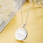 SILVERAGE Sterling Silver Memory Circle Disc Pendant Necklace