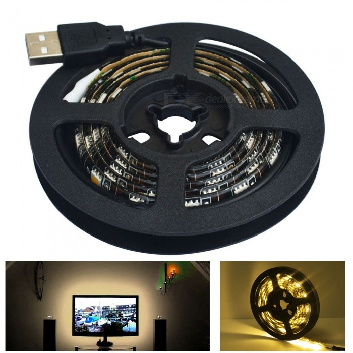 JIAWEN 60-5050SMD Warm White Light LED Strip Lamps (1m) - Black5050 SMD Strips<br>Form  ColorBlackColor BINWarm WhiteMaterialPCB + siliconeQuantity1 DX.PCM.Model.AttributeModel.UnitPower12WRated VoltageOthers,DC 5 DX.PCM.Model.AttributeModel.UnitChip BrandCreeEmitter Type5050 SMD LEDTotal Emitters60Color Temperature3000~3200KWavelengthotherActual Lumens480~600 DX.PCM.Model.AttributeModel.UnitPower AdapterUSBPacking List1 x LED Strip Light (1m)<br>