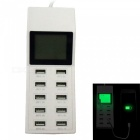 65W 100~240V 10-Port USB 10.2A USB Smart Charge Socket w/ LED Display
