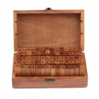 MAIKOU Retro Numbers / Letters Wood Stamps w/ Box - Brown (70 PCS)