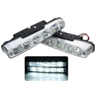 Universal Waterproof White 5-LED 800-Lumen Daytime Running Fog Lights for Car (Pair)