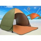Outdoor Portable Automatic Pop Up 2 Person Beach Tent - Green + Orange