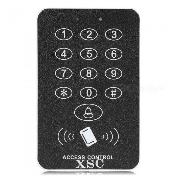 XSC Button Pressing Digital Door Access Control System -Black + SilverOther Security Products<br>Form  ColorBlack + SilverMaterialABSQuantity1 DX.PCM.Model.AttributeModel.UnitBattery included or notNoBattery Number0Power AdaptornoPower AdapterOthers,Power adapter External power supply cableRate Voltage12VOther FeaturesOperating Voltage: 12V DC User; Capacity: 2000; Card reading Distance: 3~6cm; Active Current: 60mA; Idle current: 25+/-5mA; Look Output Load: Max 3A; Alarm Output Load: Max 20A; Operating Temperature:-45~60C; Operating Humidity: 10%-90%RH; Waterproof: Conforms to IP68; Adjustable Door Relay time: 0~99 seconds; Adjustable Alarm Time: 0~3 minutes; Wiegand Interface: Wiegand 26bit; Wiring Connections: Electric lock, Exit Button, External Alarm.<br>Features:<br>Can delete card data after losing card to guarantee safety<br>Assorted door bell system and inductive ring card provide you professional service<br>Easy to install and program<br>The power supply can provide abundant power and transform voltagePacking List1 x Access2 x Power cords5 x Keys1 x Specification<br>
