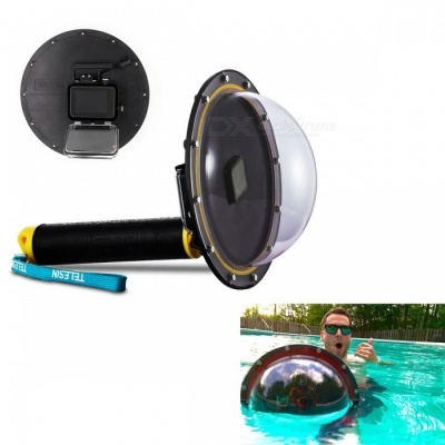 Underwater Waterproof Lens Hood Cover Floating Case - Black + Yellow